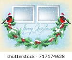 christmas card with two photo... | Shutterstock . vector #717174628