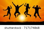 jumping people friends on the... | Shutterstock .eps vector #717174868