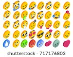 emoji set emoticon reactions.... | Shutterstock .eps vector #717176803