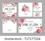 set wedding invitation vintage...   Shutterstock .eps vector #717177226