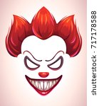 Creepy Clown Mask. Vector Angr...