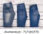 different types of jeans on... | Shutterstock . vector #717181570