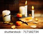 halloween homemade gingerbread...   Shutterstock . vector #717182734