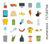 garbage flat icons set vector... | Shutterstock .eps vector #717183766