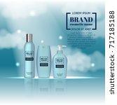 3d realistic cosmetic bottle...   Shutterstock .eps vector #717185188