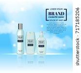 3d realistic cosmetic bottle... | Shutterstock .eps vector #717185206