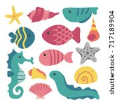sea animals collection | Shutterstock .eps vector #717189904