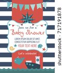 baby shower cute card with sea ... | Shutterstock .eps vector #717191878