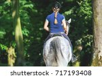 Horse Rider Woman Riding Near...