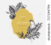 vintage card design with bird.... | Shutterstock .eps vector #717194794