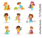 children and their pets. vector.... | Shutterstock .eps vector #717196300
