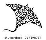 manta ray tattoo shape with...   Shutterstock .eps vector #717198784