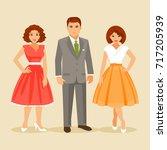 group of elegant people dressed ... | Shutterstock .eps vector #717205939