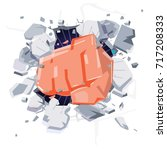 a wall is broken through by a... | Shutterstock .eps vector #717208333
