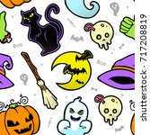 vector halloween white comic... | Shutterstock .eps vector #717208819