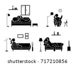 stick figure resting at home... | Shutterstock .eps vector #717210856