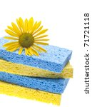 Natural Spring Cleaning Concept with Sponges and Daisy. - stock photo
