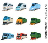 retro and modern trains... | Shutterstock .eps vector #717212173