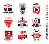vlog and blog original logo... | Shutterstock .eps vector #717212479