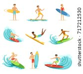 surfboarders riding on waves... | Shutterstock .eps vector #717212530
