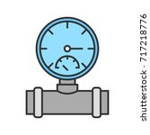 pressure gauge color icon. pipe ... | Shutterstock .eps vector #717218776