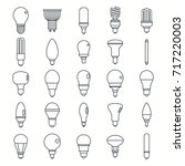 light bulbs lamp outline set... | Shutterstock .eps vector #717220003