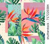 abstract tropical summer design ... | Shutterstock . vector #717220384