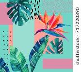abstract tropical summer design ...   Shutterstock . vector #717220390