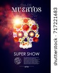 day of the dead poster template ... | Shutterstock .eps vector #717221683