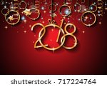 2018 happy new year background... | Shutterstock .eps vector #717224764