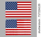 us flag and usa grunge flag....   Shutterstock .eps vector #717226120