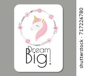 dream big  cute vector card... | Shutterstock .eps vector #717226780