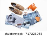 fashion and beauty concept  men'... | Shutterstock . vector #717228058