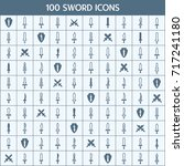 simple set of sword related... | Shutterstock .eps vector #717241180