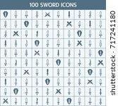 simple set of sword related... | Shutterstock .eps vector #717241180