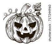 halloween pumpkin engraving... | Shutterstock .eps vector #717244960