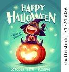 happy halloween. halloween... | Shutterstock .eps vector #717245086