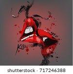 kissing lips | Shutterstock .eps vector #717246388