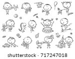 funny sketchy kids playing with ... | Shutterstock .eps vector #717247018