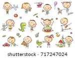 funny sketchy kids playing with ... | Shutterstock .eps vector #717247024