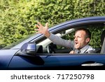 nervous and angry driver ... | Shutterstock . vector #717250798