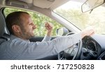 nervous and angry driver ... | Shutterstock . vector #717250828
