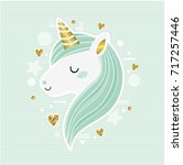 cute vector unicorn. trendy... | Shutterstock .eps vector #717257446