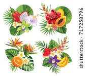 tropical summer bouquet with... | Shutterstock .eps vector #717258796