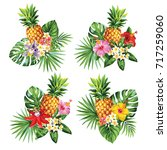 tropical summer bouquet with... | Shutterstock .eps vector #717259060