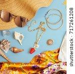 diverse travel girlish stuff on ... | Shutterstock . vector #717261208