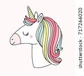 cute magical unicorn vector...   Shutterstock .eps vector #717266020