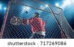 Ice Hockey Goalie Saves A Goal...