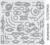 big set of nautical rope knots...   Shutterstock .eps vector #717270910
