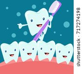 dental health campaign for kid. ... | Shutterstock .eps vector #717274198